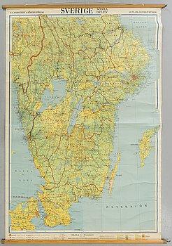 """SKOLKARTA """"Södra Sverige"""" P.A Norstedts och Söner, 1900-talets mitt."""