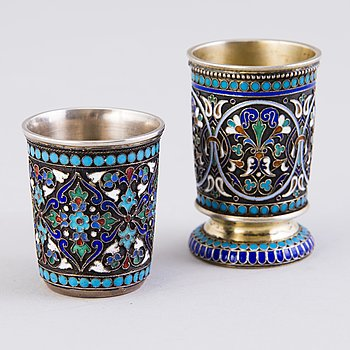 Two Russian silver and enamel beakers, Moscow 1890 & 1896.