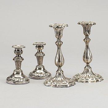 LJUSSTAKAR, 2 par, silver, Stockholm 1842 och 1850.