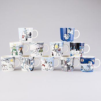 MOOMIN-MUGS, 11 pcs, porcelain, 'Winter season mugs', Moomin Characters, Arabia 2007-2017.