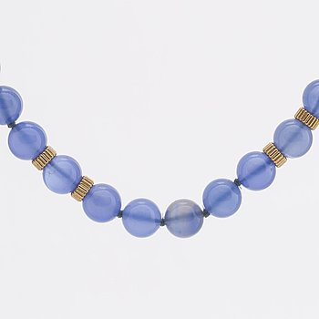 NECKLACE chalcedony approx 8 mm and 14K gold beads and clasp.