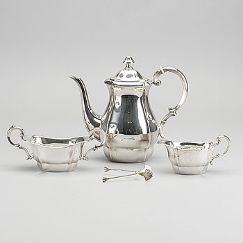 KAFFESERVIS, silver, 3+1 del, svenska importstämplar.