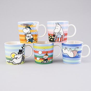 MOOMIN-MUGS, 5 pcs, porcelain, 'Summer season mugs', Moomin Characters, Arabia 2006-2011.