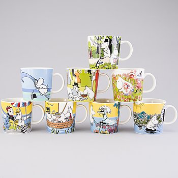 MOOMIN-MUGS, 8 pcs, porcelain, 'Summer season mugs', Moomin Characters, Arabia 2007-2018.
