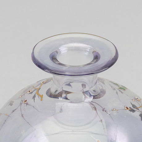Eugene rousseau, ascribed a handpainted glass vase for baccarat around 1880