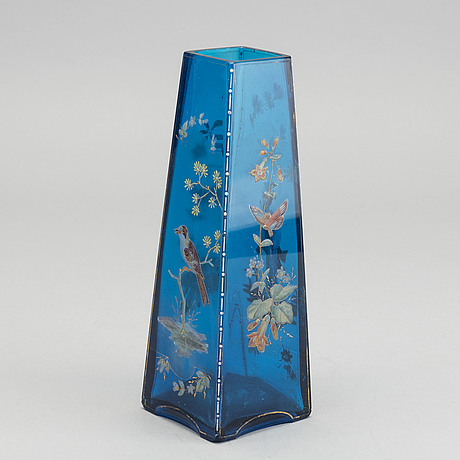 A french art nouveau paitned glass vase around 1890.