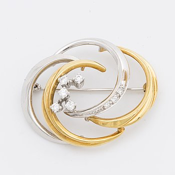 BROOCH 18K gold and whitegold 8 brilliant-cut diamonds 0,25 ct engraved.