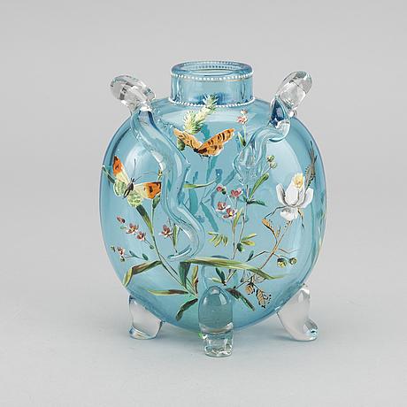 Ernest leveillÉ, a signed handpainted glass vase.