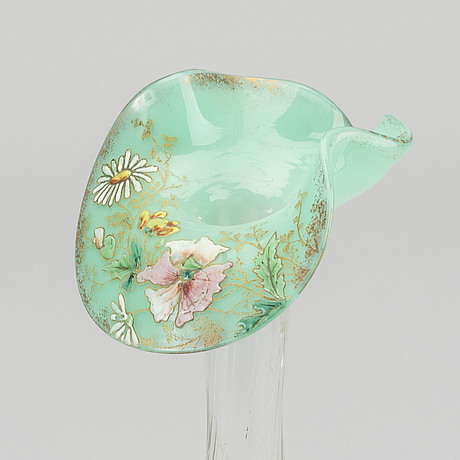 A french art nouveau hand pianted glass vase around 1880