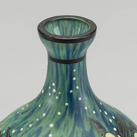 Andre delatte, a signed enamelpainted art deco glass vase.