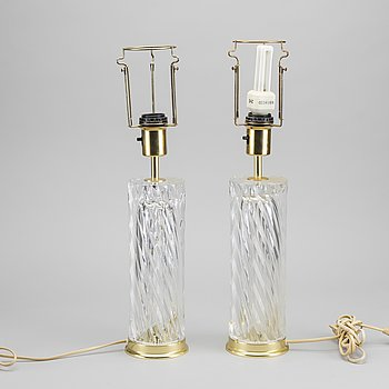 A pair of Swedish 20th century Orrefors glass table lamps design OLLE ALBERIUS, signed.