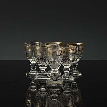 12, 19TH CENTURY, WINE GLASSES, IMPERIAL  GLASS WORKS, RUSSIAN.