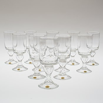 "A set of twelve ""Antik"" wine glasses by Reijmyre Glasbruk."