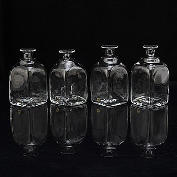 "A set of four ""Antik"" decanters by Reijmyre Glasbruk."