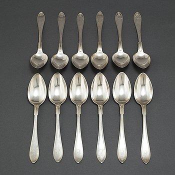 "SKEDAR, 12st, silver, ""Svensk spets"", GAB, 1916."