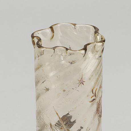 Emile gallÉ, a signed pianted and cut glass vase art nouveau around 1880.