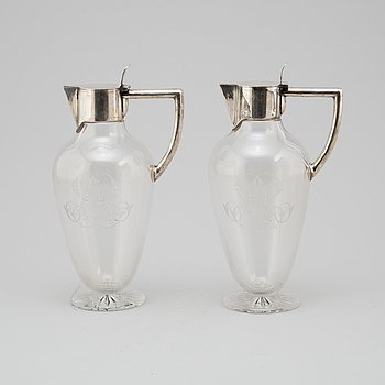 WINE DECANTERS, a pair, CG Hallberg, late 19th century.