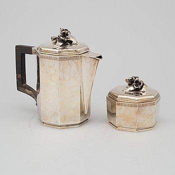 ATELIER BORGILA, kaffekanna och sockerskål, sterlingsilver, Stockholm, 1934 och 1944.