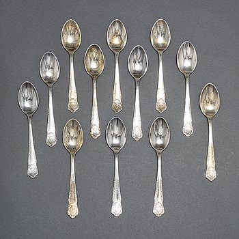 TESKEDAR, tolv st, silver, 1940/50-tal.