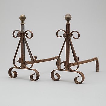 ANDIRONS, a pair, 20th century.