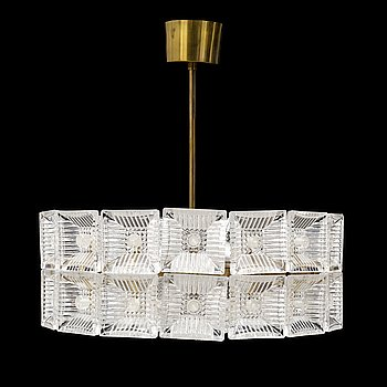 A late 20th century ceiling light By Carl Fagerlund, Orrefors, Sweden.