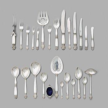 "133. Johan Rohde, a set of 185 pieces of ""Acanthus"" flatware, Georg Jensen, Copenhagen 1927-44."