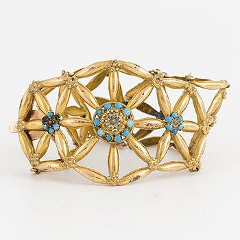 Armband 14K samt låghaltigt guld med turkosa stenar.