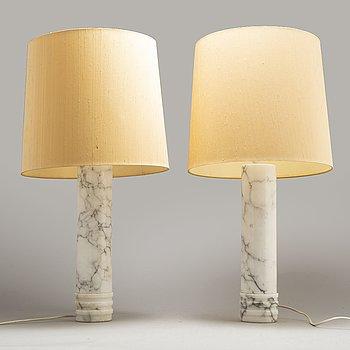 BORDSLAMPOR, ett par, alabaster, Bergboms, 1960/70-tal.