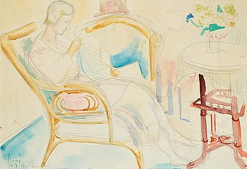 ISAAC GRÜNEWALD,  signed Isaac and dated 14.7.19 Rungsted, watercolor on paper.
