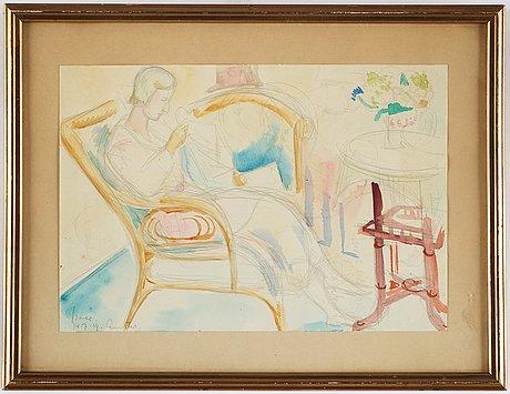 Isaac grÜnewald, signerad isaac och daterad 14.7.19 rungsted, akvarell på papper