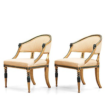 14. A pair of late Gustavian circa 1800 armchairs.