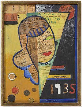 STIG SIGMUND, mixed media and collage on panel, signed and dated 1935.