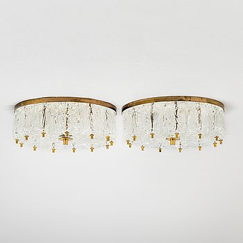 CEILING-LIGHTS, a pair, brass and glass, probably 1960s.