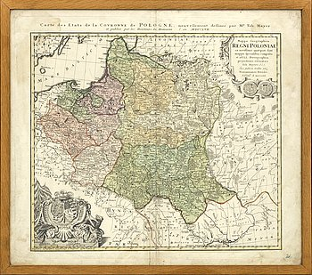 MAP - POLAND, , Heriters de Homann - Tobias Mayer, 1757, hand colored cupper engraving.