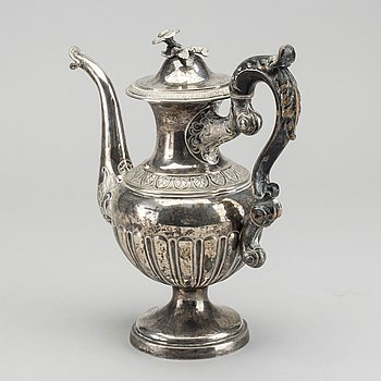 CARL NYSTRÖM kaffekanna silver Stockholm 1843 senempire.