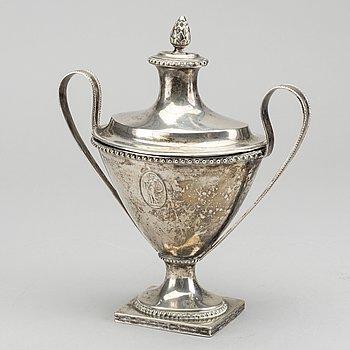 JACOB MÖLLER, sockerskål, silver, Malmö 1797 sengustaviansk.