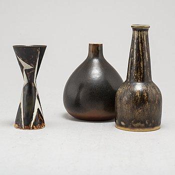 CARL-HARRY STÅLHANE, vaser, 3 st, stengods, Rörstrand, signerade och daterade -58 samt -54, unika.