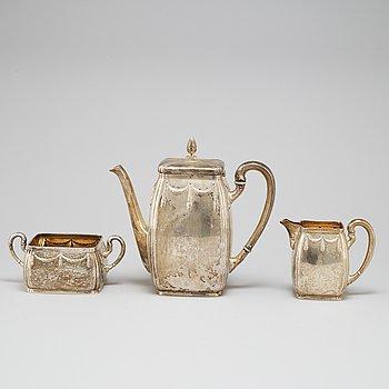 K ANDERSON, kaffeservis, 3 delar, silver, Stockholm, 1911.