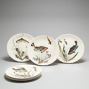 Six ceramic fish plates from Johnson Bros, England.