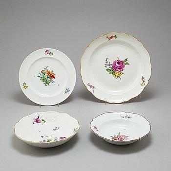 FAT, fyra stycken, porslin. Meissen samt en av dem Kejserliga porslinsmanufakturen, St Petersburg, 17/1900-tal.
