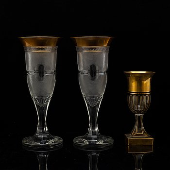A set of three large goblet, circa 1900.