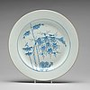 A large blue and white dish, qing dynasty, 18th century