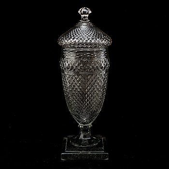 A large cut glass jar with cover, English/Irish, 19th Century.