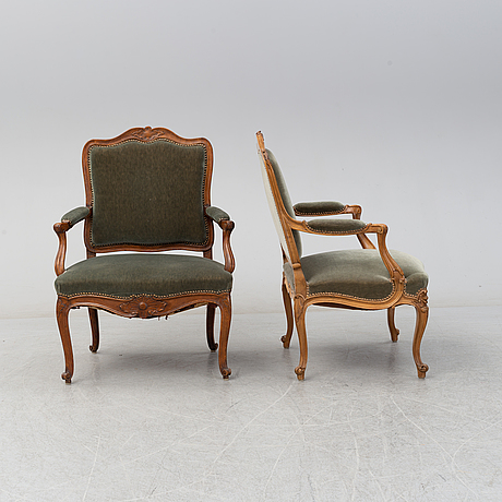Two armchairs, louix xv, second half of the 18th century and louis xv style, early 20th century