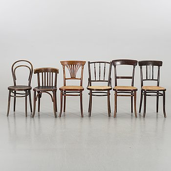 A SET OF 6 DIFFERENT THONET/THONET STYLE CHAIRS, first half of 20th century.