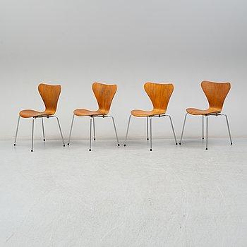 A set of four 'Sjuan' teak chairs by Arne Jacobsen, Fritz Hansen.