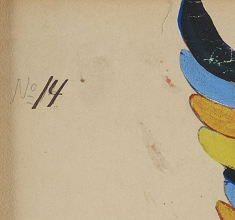 Isaac grünewald, gouache on paper, signed.