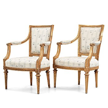 11. Two matched Gustavian armchairs, late 18th century.