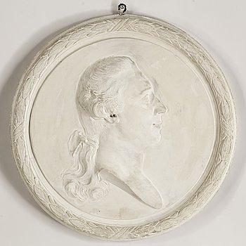 JOHAN TOBIAS SERGEL, efter. Medaljong, gips, 1900-tal.