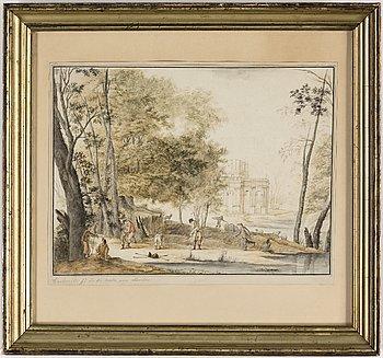OKÄND KONSTNÄR, tusch och akvarell, omkring 1800.